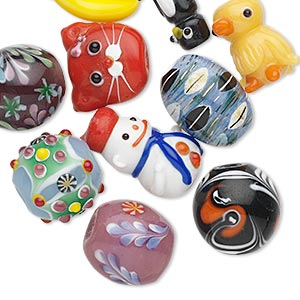 bead mix, porcelain and lampworked glass, mixed colors, 12-35mm mixed shape. sold per pkg of 10.