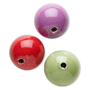bead mix, porcelain, mixed colors, 47-50mm round, 6-9mm hole. sold per pkg of 3.