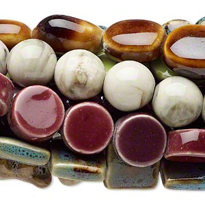 bead mix, porcelain, multicolored, 9x8mm-28x21mm multi-shape. sold per pkg of (10) 15-inch strands.