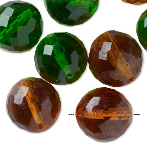 bead mix, preciosa, czech glass, topaz and peridot, 18mm faceted round. sold per pkg of 10.
