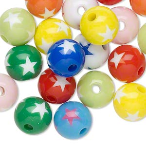 bead mix, resin, multicolored, 11mm round with star design. sold per pkg of 20.