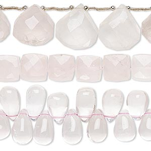 bead mix, rose quartz (natural / dyed), 8x7mm-27x17mm hand-cut mixed shape, mohs hardness 7. sold per pkg of (3) 6-inch strands.