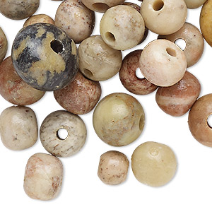 bead mix, soapstone (coated), 8mm-16x10mm hand-cut round and rondelle with 2.5mm hole, b- grade, mohs hardness 1 to 2-1/2. sold per 2-ounce pkg, approximately 30 beads.