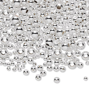 bead mix, sterling silver, 2-5mm seamless-look round. sold per 1/4 troy ounce pkg, approximately 130 beads.