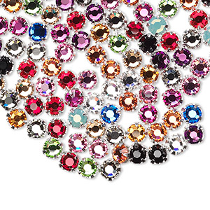 bead mix, swarovski crystals and silver-plated pewter (tin-based alloy), mixed colors, 3.8-4mm rose montees with 0.75-0.85mm hole (53102), ss16. sold per pkg of 144 (1 gross).