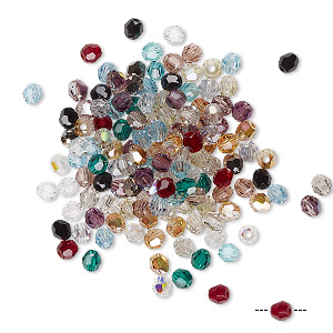 bead mix, swarovski crystals, crystal passions, mixed colors, 3mm faceted round (5000). sold per pkg of 144 (1 gross).