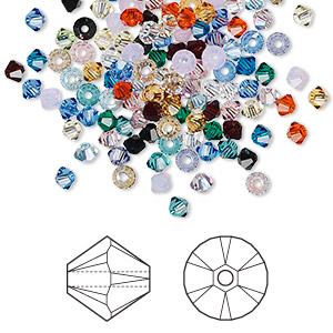bead mix, swarovski crystals, crystal passions, mixed colors, 3mm xilion bicone (5328). sold per pkg of 1,440 (10 gross).