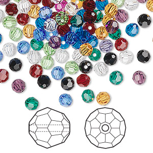 bead mix, swarovski crystals, crystal passions, mixed colors, 4mm faceted round (5000). sold per pkg of 144 (1 gross).