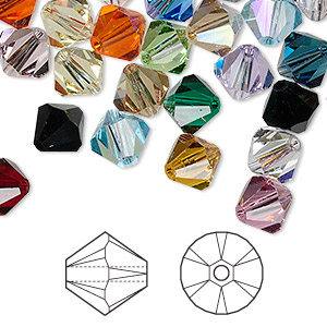 bead mix, swarovski crystals, crystal passions, mixed colors, 8mm xilion bicone (5328). sold per pkg of 288 (2 gross).