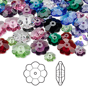 bead mix, swarovski crystals, mixed colors, 6x2mm / 8x3mm / 10x3.5mm faceted marguerite lochrose flower (3700). sold per pkg of 144 (1 gross).