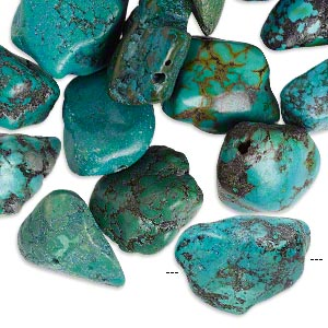 bead mix, turquoise (dyed / stabilized / waxed), blue, medium to extra-large nugget, mohs hardness 5 to 6. sold per 1/4 pound pkg, approximately 10 beads.
