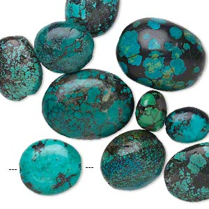 bead mix, turquoise (dyed / stabilized), blue, 16x14mm-47x30mm puffed oval, d grade, mohs hardness 5 to 6. sold per pkg of 10.