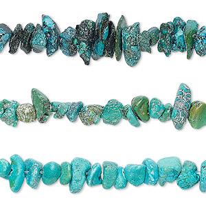 bead mix, turquoise (dyed / stabilized), blue and blue-green, mini to small chip, mohs hardness 5 to 6. sold per pkg of (3) 15-inch strands.