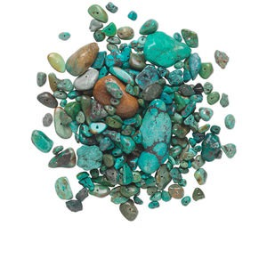 bead mix, turquoise (dyed / stabilized), blue, small to gigantic chip and mini to extra-large nugget, mohs hardness 5 to 6. sold per 1/4 pound pkg, approximately 70-180 beads.
