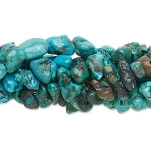 bead mix, turquoise (dyed / waxed), blue, small to large chip and pebble, mohs hardness 5 to 6. sold per pkg of (5) 15-inch strands.