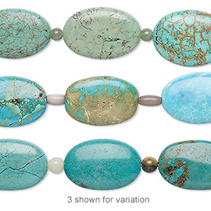 bead mix, turquoise (imitation) / multi-gemstone (natural / dyed / heated / irradiated) / cats eye glass, multicolored, 6mm round / 9x5mm barrel / 29x19mm-30x20mm puffed oval. sold per pkg of 7.