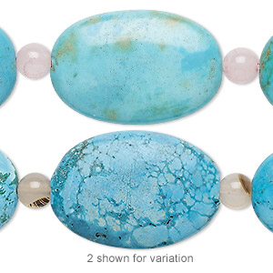 bead mix, turquoise (imitation) / white agate / rose quartz (natural / dyed), blue and blue-green, 6mm round and 29x20mm puffed oval. sold per pkg of 7.