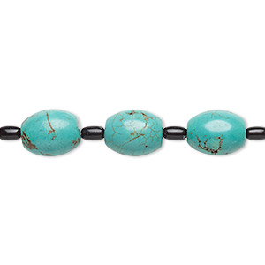 bead mix, turquoise (imitation) and glass, dark teal and black, 6x4mm and 15x12mm barrel. sold per pkg of 7.