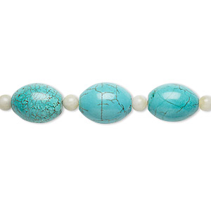 bead mix, turquoise (imitation) and green quartz (natural), blue-green and blue, 6mm round and 20x15mm-21x16mm oval. sold per pkg of 7.