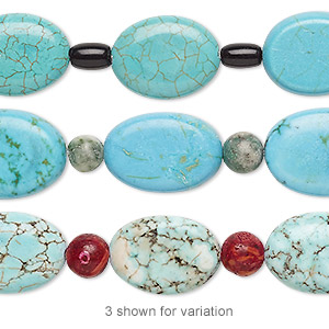 bead mix, turquoise (imitation) and multi-gemstone (natural / dyed / assembled) / glass, blue / light blue / red, 6x4mm-9x5mm barrel and 15x12mm-18x13mm puffed oval. sold per pkg of 7.