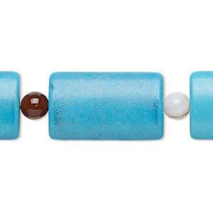 bead mix, turquoise (imitation) and multi-gemstone (natural / dyed / heated), blue, 5-6mm round and 25x15mm-26x16mm puffed rectangle. sold per pkg of 7.