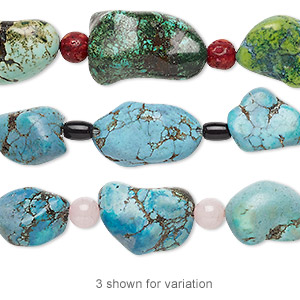 bead mix, turquoise (imitation) and multi-gemstone (natural / dyed / heated / assembled) / glass, multicolored, 6x4mm barrel / 6mm round / medium nugget. sold per pkg of 7.