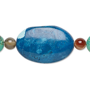 bead mix, turquoise (imitation) and multi-gemstone (natural / dyed / heated), green and dark blue, 5-6mm round / 12mm flat round / 30x20mm-31x21mm puffed oval. sold per pkg of 7.