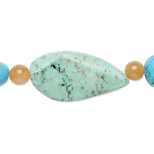 bead mix, turquoise (imitation) and peach quartz (natural), light teal green and blue, 5-6mm round / small tumbled nugget / 30x15mm-31x16mm freeform. sold per pkg of 7.