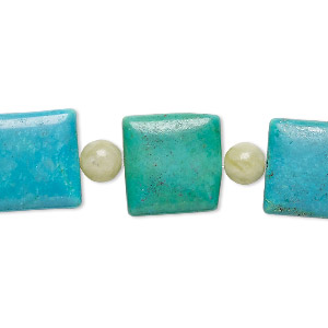 bead mix, turquoise (imitation) and serpentine (natural), teal and kelly green, 6mm round and 14x14mm-15x15mm puffed square. sold per pkg of 7.
