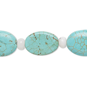 bead mix, turquoise (imitation) and snow quartz (natural), blue-green, 5-6mm round and 17x13mm-20x15mm flat oval. sold per pkg of 7.