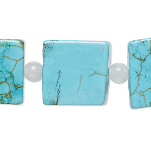 bead mix, turquoise (imitation) and white agate (natural), blue, 6mm round and 20x20mm-21x21mm flat square. sold per pkg of 7.