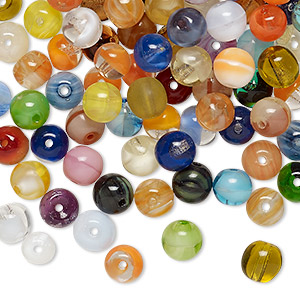 bead mix, vintage german pressed glass, mixed colors, 5-6mm round. sold per 2-ounce pkg, approximately 220 beads.