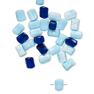 bead mix, vintage german pressed glass, opaque royal purple / light blue / white, 6x4mm flat rectangle. sold per pkg of 30.