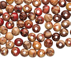 bead mix, wood (coated), multicolored, 8mm hand-cut round with painted pattern. sold per pkg of 100.