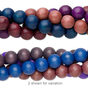 bead mix, wood (dyed), mixed colors, 20mm round with 4.3mm hole. sold per pkg of (4) 15-inch strands.