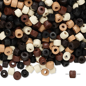 bead mix, wood, mixed colors, 4x3mm heishi. sold per 400-gram pkg, approximately 23,000 beads.