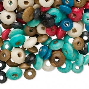 bead mix, wood, mixed colors, 5x3mm-8x4mm rondelle. sold per 250-gram pkg, approximately 4,600 to 4,700 beads.