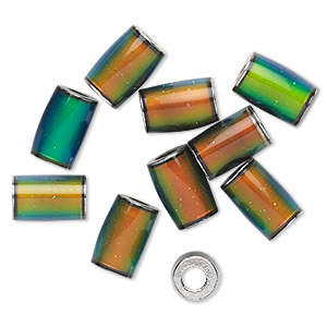 bead, mood stone and imitation rhodium-plated brass, multicolored, 9x6mm-10x8mm round tube with 3mm hole. sold per pkg of 10.