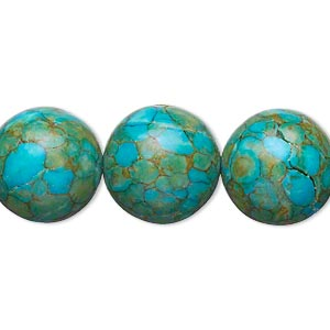 bead, mosaic turquoise (dyed / assembled), blue, 15-16mm round, b grade, mohs hardness 3-1/2 to 4. sold per 15-inch strand.