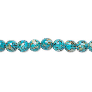 bead, mosaic turquoise (dyed / assembled), blue, 6mm round, mohs hardness 3-1/2 to 4. sold per 16-inch strand.