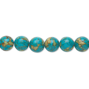 bead, mosaic turquoise (dyed / assembled), blue, 8mm round, mohs hardness 3-1/2 to 4. sold per 16-inch strand.