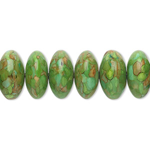 bead, mosaic turquoise (dyed / assembled), green, 12x6mm-14x8mm rondelle, mohs hardness 3-1/2 to 4. sold per 16-inch strand.