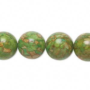 bead, mosaic turquoise (dyed / assembled), green, 14mm round, mohs hardness 3-1/2 to 4. sold per 16-inch strand.