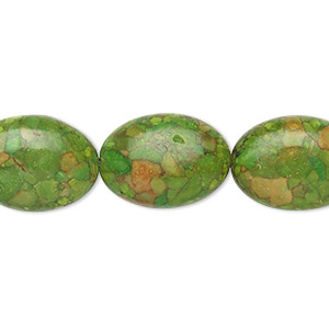 bead, mosaic turquoise (dyed / assembled), green, 18x13mm oval, mohs hardness 3-1/2 to 4. sold per 16-inch strand.