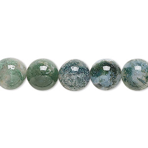 bead, moss agate (natural), 10mm round, b grade, mohs hardness 6-1/2 to 7. sold per 16-inch strand.