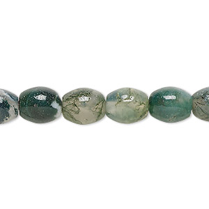 bead, moss agate (natural), 10x8mm oval, b grade, mohs hardness 6-1/2 to 7. sold per 16-inch strand.