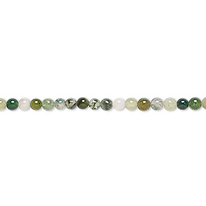 bead, moss agate (natural), 3mm round, b grade, mohs hardness 6-1/2 to 7. sold per 16-inch strand.