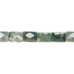 bead, moss agate (natural), 9x6mm faceted rectangle, b grade, mohs hardness 6-1/2 to 7. sold per 16-inch strand.