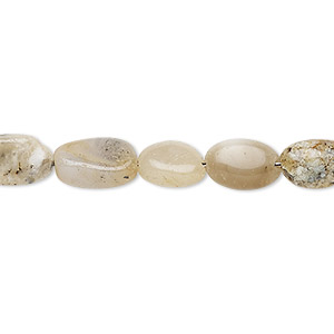 bead, moss opal (natural), 7x6mm-13x7mm hand-cut puffed oval, c grade, mohs hardness 5-1/2 to 6. sold per 13-inch strand.