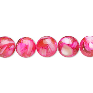 bead, mother-of-pearl shell and resin (assembled), fuchsia, 10-11mm round. sold per 15-inch strand.